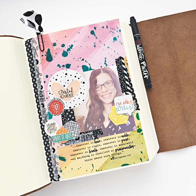 mixed media art journaling Bible first name page | Crossway ESV Interleaved Journaling Bible | a much needed update on Heather Greenwood Designs and what Heather's been up to and plans for 2016 blogging.