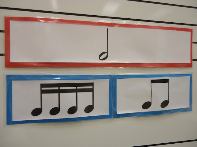 Rhythm magnets for elementary orchestra classroom