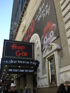 Booth Theatre marquee for Hand to God, New York, New York
