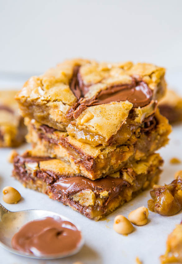 Nutella Swirled Peanut Butter Chip Blondies