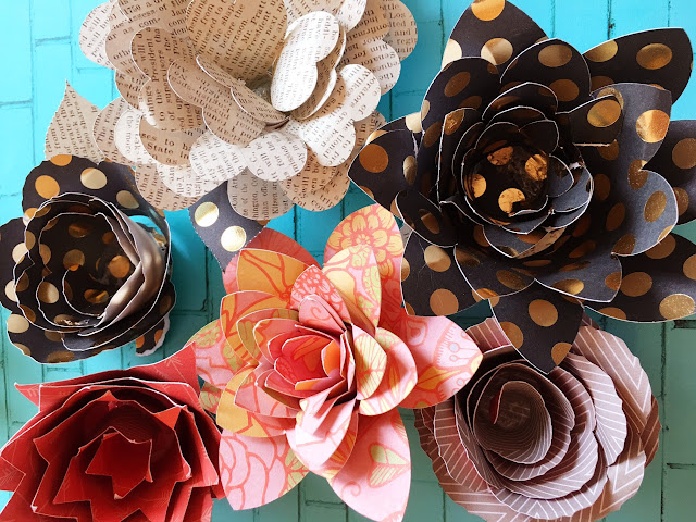 set of paper flower design files svg silhouette studio