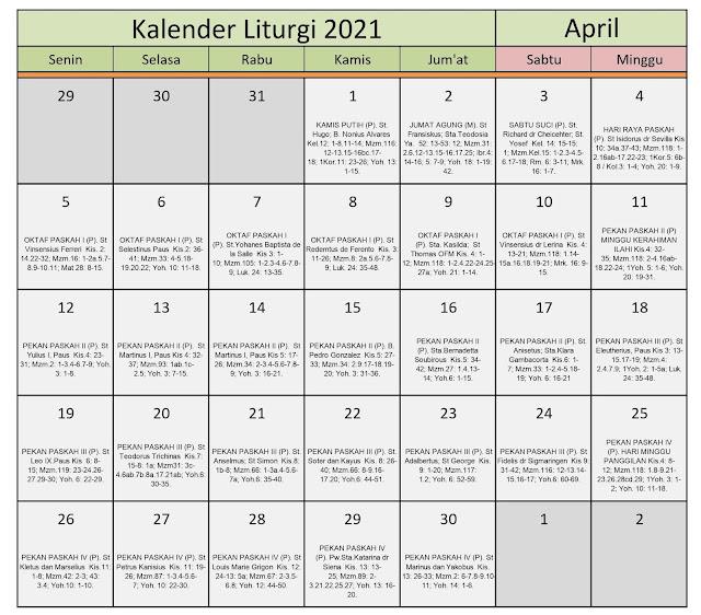 Download Kalender Liturgi April 2021 Tahun B/1 PDF Excel dan JPEG