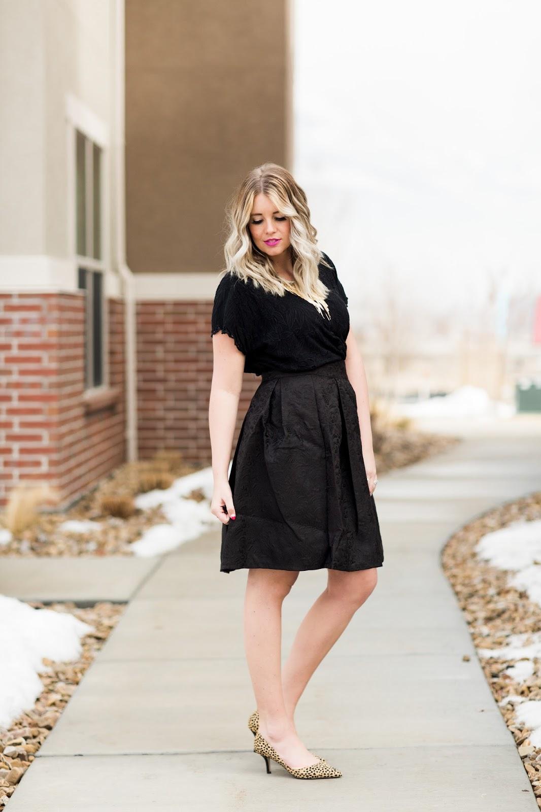 Cheetah Heels, Black Skirt, Tara Lynn's, Utah Fashion Blogger
