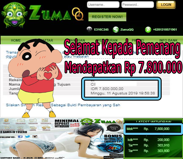ZumaQQ Selamat Kepada Pemenang Mendaoatkan Rp 7.800.000