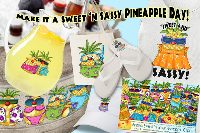 Create your own Sunny Paradise Annie Lang's Tropical Pineapple merchandise, DIY patterns and clipart