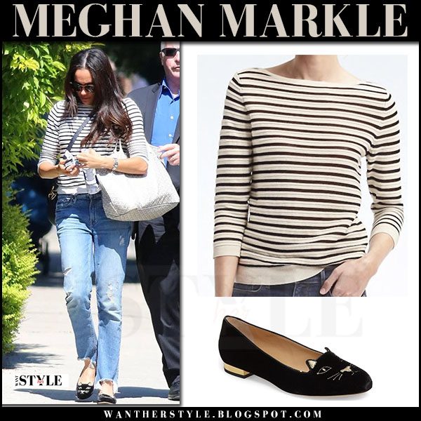 Meghan Markle in striped sweater, ripped jeans and black flats what she wore july 2017 street fashion