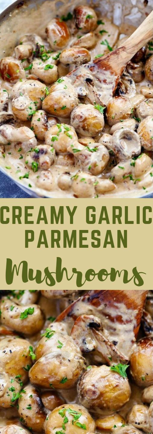 CREAMY GARLIC PARMESAN MUSHROOMS #recipe #dinner