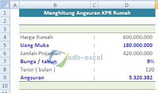 menghitung angsuran KPR rumah dengan rumus dalam Excel