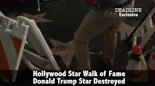 Watch Fake Construction Worker Destroy Trump's Star on the Hollywood Walk of Fame