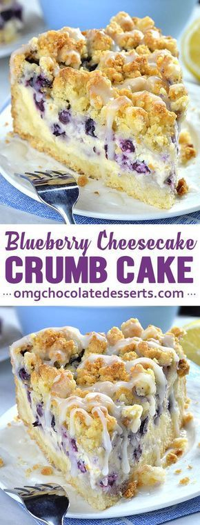 Blueberry Cheesecake Crumb Cake is delicious combo of two mouthwatering desserts: crumb cake and blueberry cheesecake. With this simple and easy dessert recipe you'll get two cakes packed in one amazing treat. Creamy and smooth cheesecake is bursting with blueberries!  The crust and topping are made from the same mixture, which means much less work and dirty dishes, too.