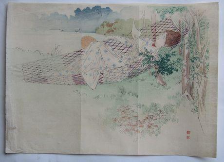 梶田半古 (ハンモックに寝る女性)の木版画販売買取ぎゃらりーおおのです。愛知県名古屋市にある木版画専門店
