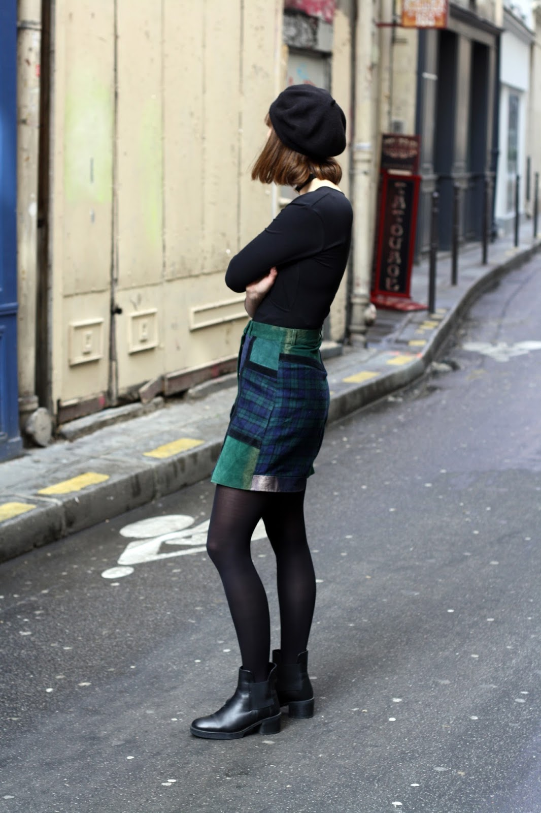 Patchwork suede and tartan skirt