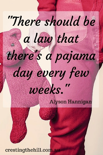 """There should be a law that there's a pajama day every few weeks."" - Alyson Hannigan #quotes"