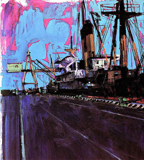 a Neil Boyle illustration of a cargo ship at dock, in purple