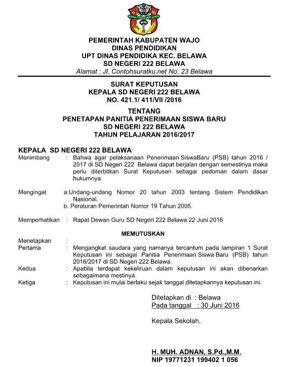 Contoh Surat Keputusan ( SK ) Penerimaan Siswa Baru File Word