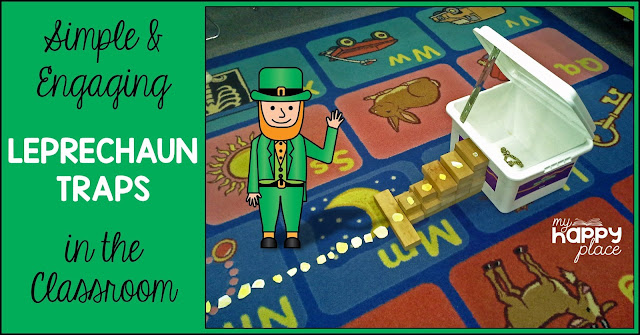 A leprechaun stands beside a simple classroom trap on Saint Patrick's Day