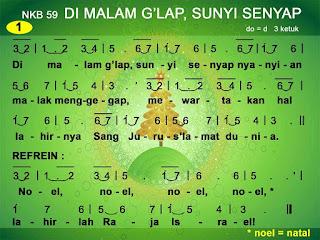 Lirik dan Not NKB 59 Di Malam G'lap, Sunyi Senyap