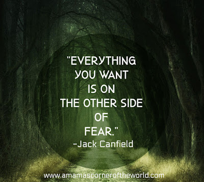 pinnable image with dark forest path and quote about overcoming fear