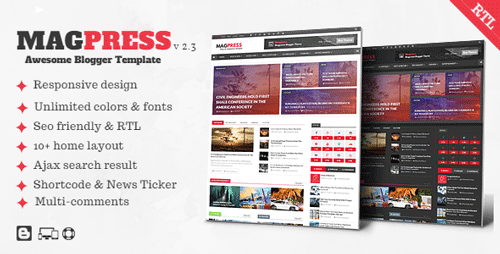 Responsive Magazine Blogger Template Magpress