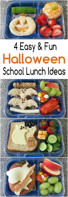 4 Fun Halloween School Lunch Ideas. Bats, Jack O Lantern, Ghost, Witch