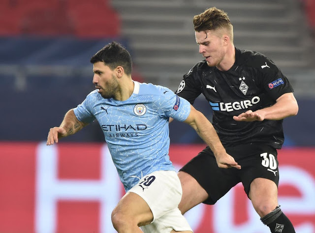 Kun Aguero in action for Man city against Mochengladbach in the Champions league