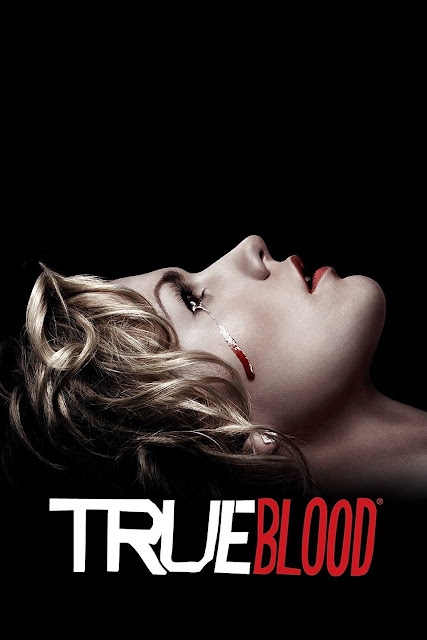Blonde lying down with blood tripping from her eye, with the next 'True Blood'