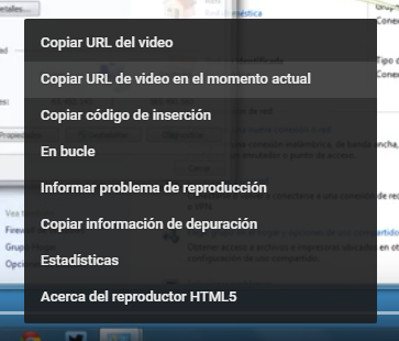 Opción Copiar URl de video en el momento actual en Youtube