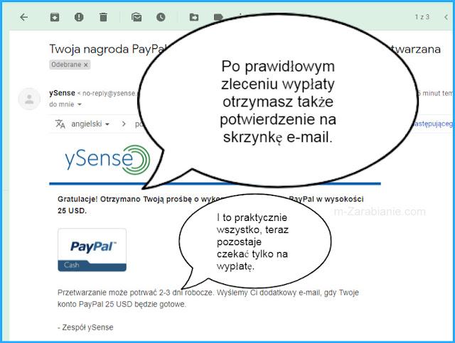 ySense, PayPal, wypłacanie pieniędzy.