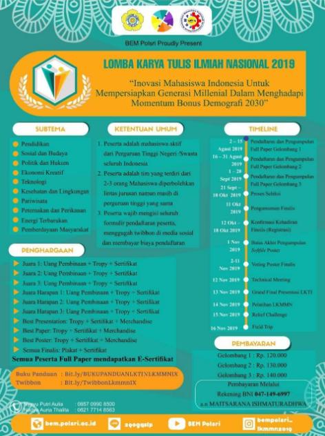 Lomba Karya Tulis Ilmiah Nasional 2019 di POLSRI