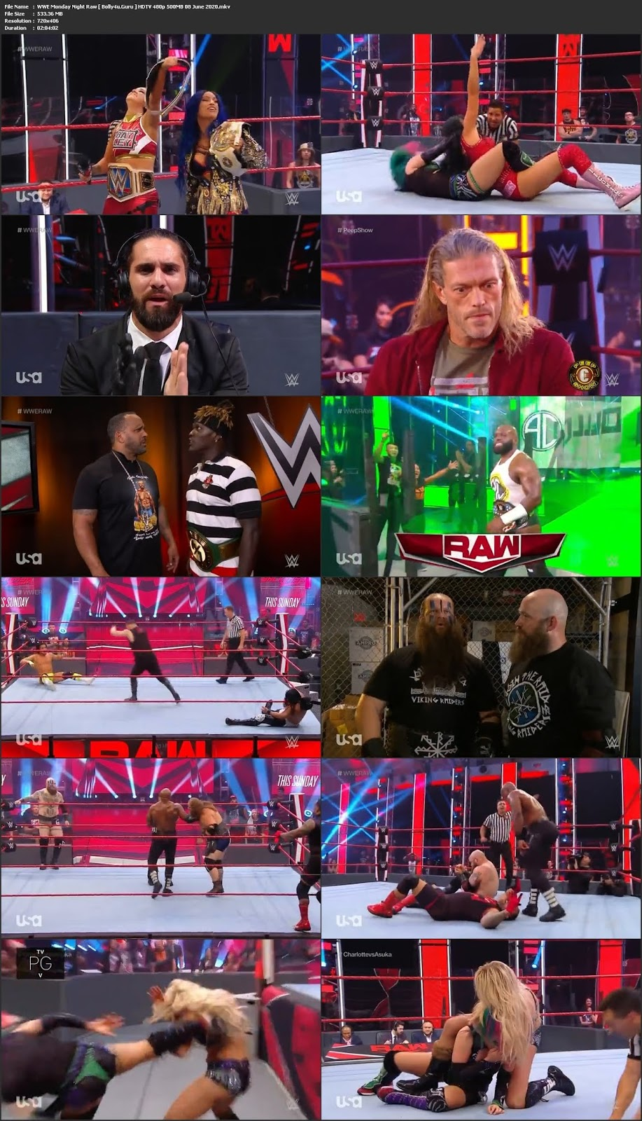 WWE Monday Night Raw HDTV 480p 500MB 08 June 2020 Download
