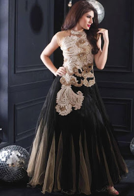 Black net designer wedding gown. Simply awesome.