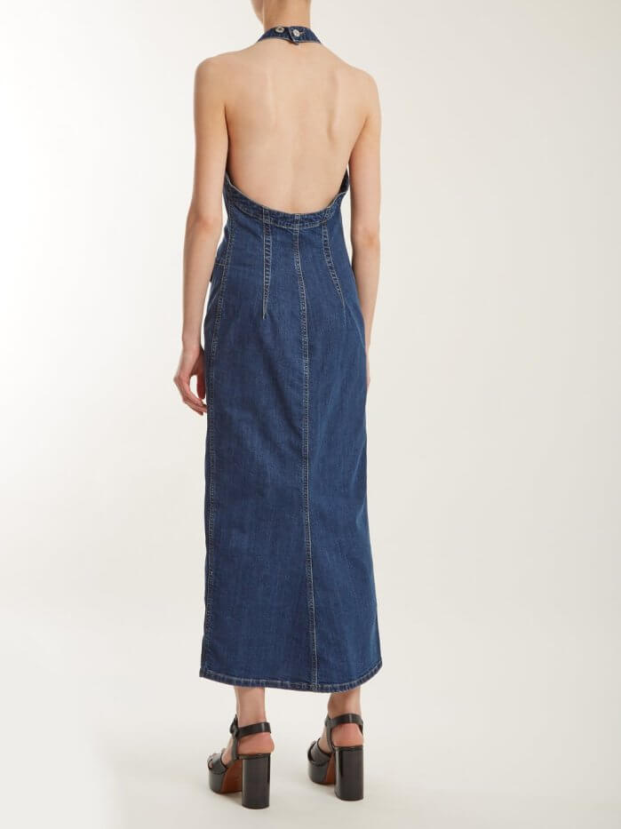 Long Backless Denim Dress With Halter Neck