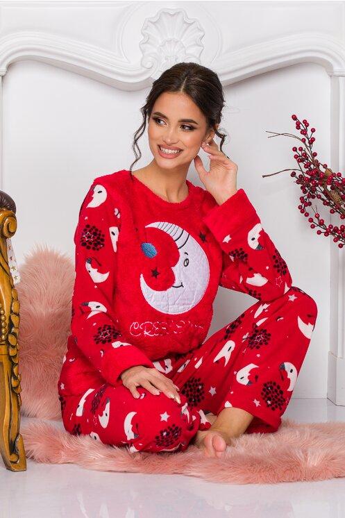 Pijama dama rosie cu imprimeu cu stele si luna