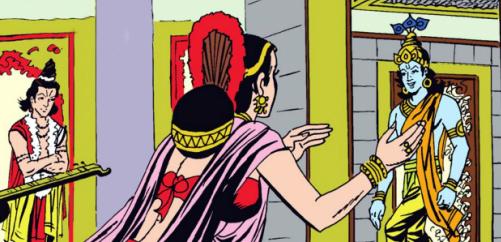 Narada Satyabhama and Krishna