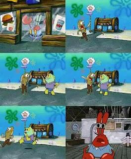 Polosan meme tuan krab 10 - ikan warga bikini bottom tidak jadi mampir ke krusty krab, dan memilih membeli makanan dan antri di cum bucket milik plankton
