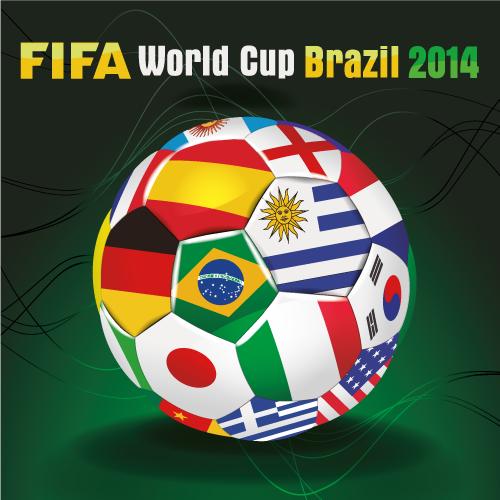 Balón con banderas Brasil 2014 - Vector