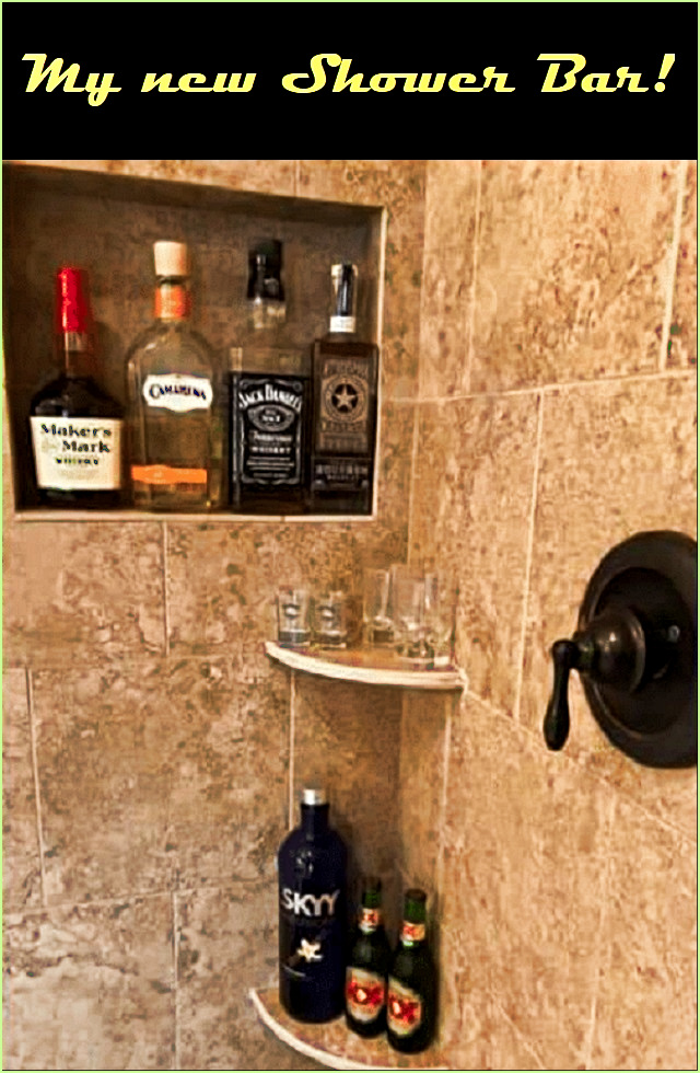 Not sure how this will help keep me from falling... But, other than the watered down drinks... I like it! #funny #memes #sarcasm #DIY #shower