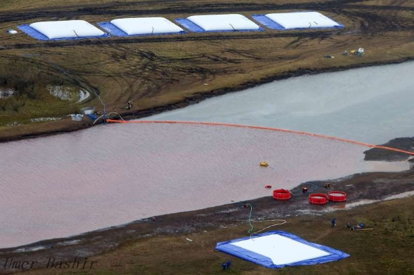 """The incident, the company said, was """"discharge from the reservoir"""" of liquids used to process minerals at the Talnac Enrichment Plant near the Arctic city of Norilsk.    """"Steps have been taken to prevent this. To remove the liquid nearby, there is no risk of waste leakage,"""" the company said."""
