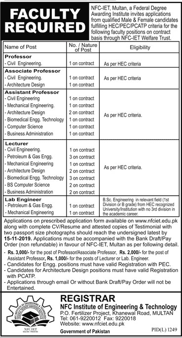 Jobs in NFC IET Multan Nov 2019