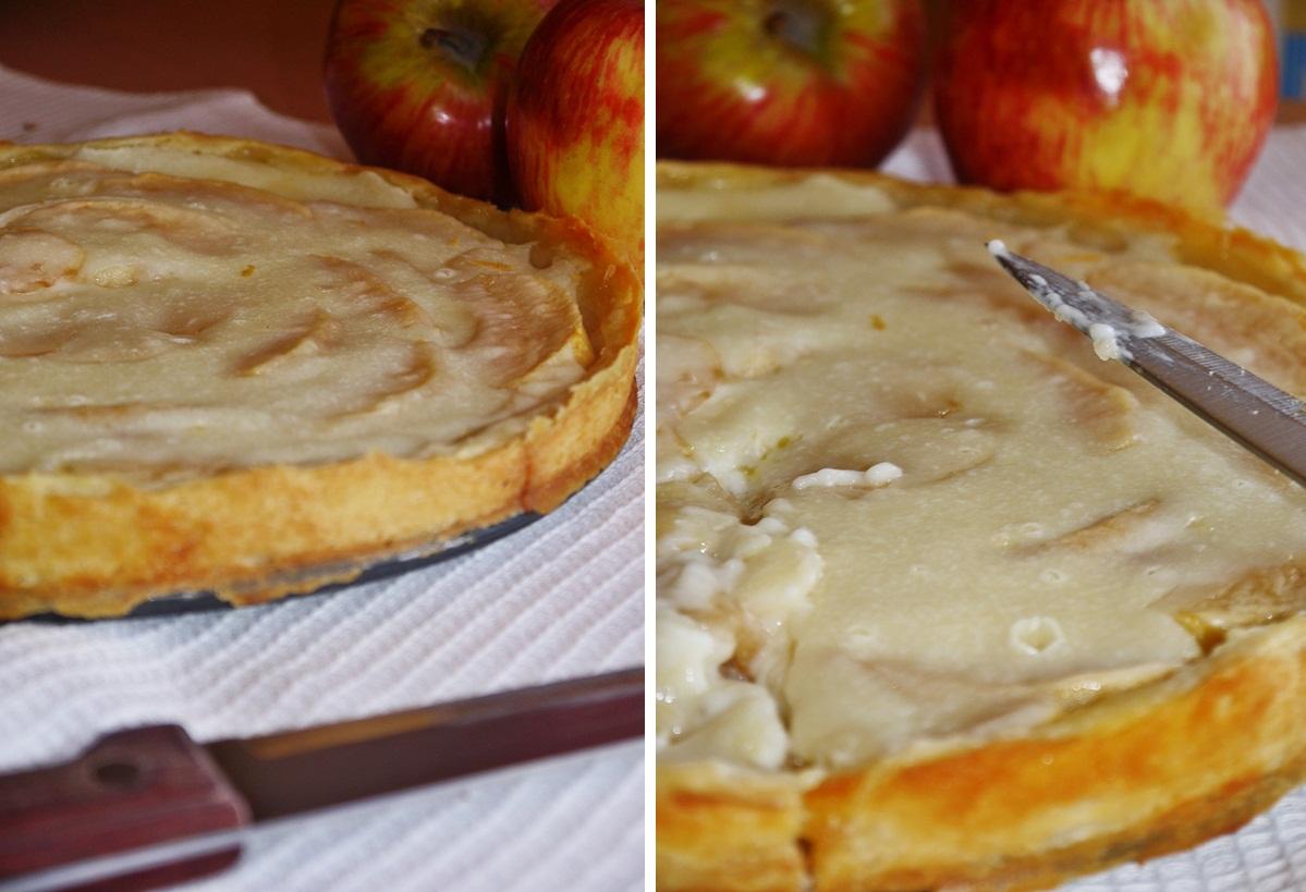 Дать яблочному пирогу со сметанной заливкой остыть.