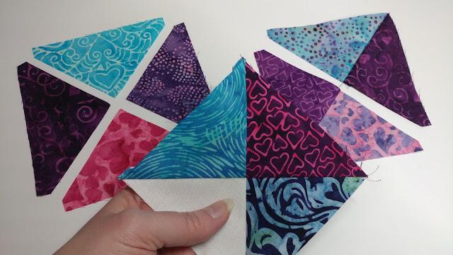 Quarter square triangles made with AccuQuilt