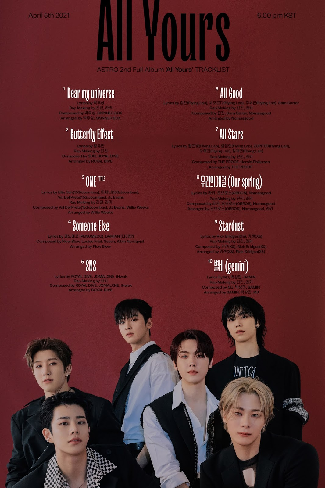ASTRO ALL YOURS TRACKLIST