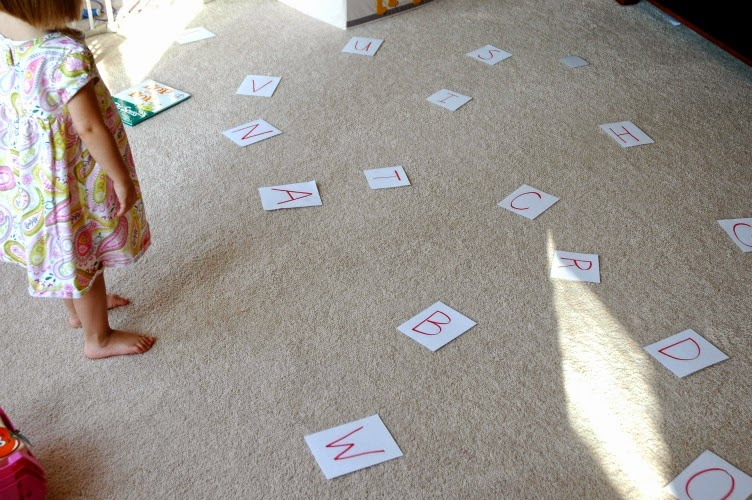 letters scattered for gross motor learning
