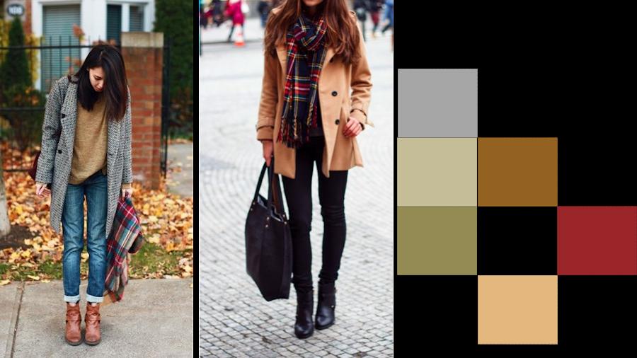 Sobre la combinación del vestuario y complementos, podemos ver la gama de colores