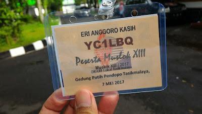 Name tag peserta muslok XIII ORARI Lokal Tasikmalaya tahun 2017.