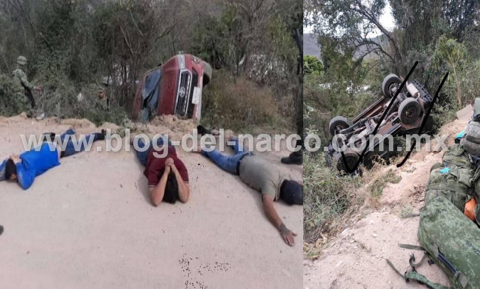 Sicarios embisten y vuelcan una patrulla de la SEDENA y desatan balacera en Culiacan, Sinaloa; agarran a tres sicarios