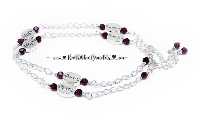 Survivor Hope Courage Anklets with Red Crystals - 18 color options