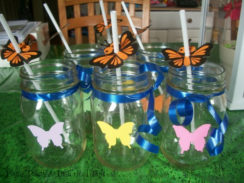 Butterfly Mason Jars at Butterfly Party at Pams Party and Practical Tips