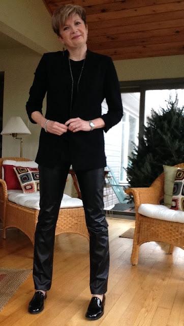 Rag and Bone tank, Helmut Lang jacket, Holt Renfrew leather trousers, Stuart Weitzman loafers