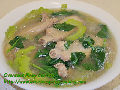 Pork Ribs Tinola with Sotanghon and Ampalaya Recipe